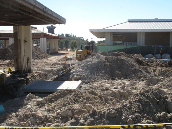 What use to be the front of the cafeteria and ASGC building, now trenches and piles of dirt