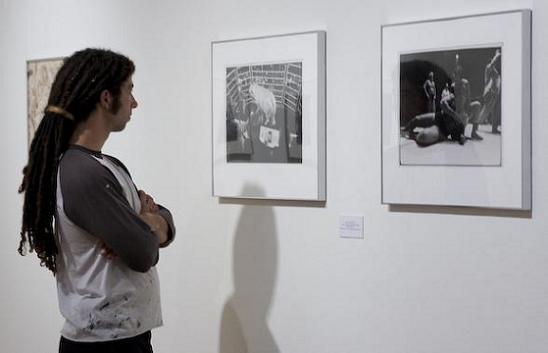 Nick Clawson Taking int the images in the Hyde Gallery (Photo: Robert Sanchez)
