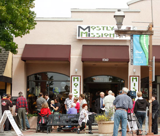 The Crowd in front of Mostly Mission in downtown La Mesa